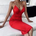 Damen Etuikleid Knielanges Kleid Schwarz Rote Ärmellos Volltonfarbe Sommer Sexy 2021 S M L