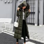 Damen Kapuze Lang Puffer Mantel Jacke Gepolstert Gesteppt Slim Winter Dick Mode
