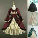 Damen Lolita Viktorianisch Gothic Kleid Rüsche Schleifenknopf Abend Retro Kostüm