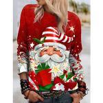 Damen Pullover Zur Seite fahren Weihnachtsmann Bedruckt Weihnachten Alltag Sport 3D-Druck Aktiv Strassenmode Kapuzenpullover Sweatshirts Rote Lightinthebox