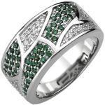 Damen Ring 925 Sterling Silber 85 Zirkonia grün und weiß
