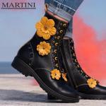 Damen Stiefel ' Schwarze Kampfstiefel Florale Echte Lederstiefel Gothic Chunky Heel Boots Fußstiefel Reißverschlussstiefel