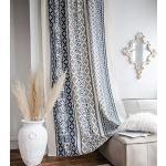 Deamos Boho Gardinen Landhausstil Baumwolle Leinen Vorhänge, Creme Weiß und Blau Blumen Muster Wohnzimmer Schlafzimmer Gardine,1 Stück,B150×H180cm