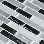 decalmile 10 Stück 3D Fliesenaufkleber 28cm x 23,5cm Schwarz Silber Mosaik Marmor Selbstklebende Wandfliesen Fliesensticker Küche Esszimmer Bad Fliesenfolie Deko