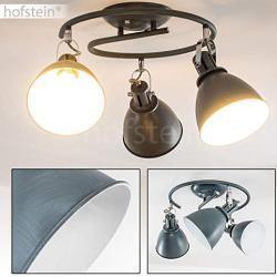 Deckenleuchte Koppom, runde Deckenlampe aus Metall in Grau-Blau/Weiß, 3-flammig, mit verstellbaren Lampenschirmen, 3 x E14-Fassung, 40 Watt, Retro-Design