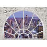 decomonkey Fototapete New York 250x175 cm XL Tapete Wandbild Wandbild Bild Fototapeten Tapeten Wandtapete Wandtapete Skyline Stadt Fensterblick Steinwand