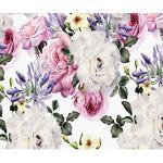 decomonkey Fototapete selbstklebend Blumen 392x280 cm Selbstklebende Tapeten Wand Fototapeten Tapete Wandtapete klebend Klebefolie Rose bunt rosa