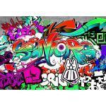 decomonkey Fototapete selbstklebend Graffiti 196x140 cm Selbstklebende Tapeten Wand Fototapeten Tapete Wandtapete klebend Klebefolie Street Art Jugendzimmer