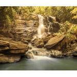 decomonkey Fototapete Wasserfall 350x256 cm XXL Design Tapete Fototapeten Vlies Tapeten Vliestapete Wandtapete moderne Wand Schlafzimmer Wohnzimmer Wald Natur