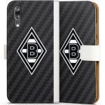 DeinDesign Handyhülle »Borussia Raute Carbon« Huawei P20, Hülle Gladbach Borussia Mönchengladbach Carbon, weiß, weiß