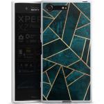 DeinDesign Handyhülle »Deep Teal Stone Gold Print« Sony Xperia XZ Premium, Hülle Stein Gold & Kupfer Elisabeth Fredriksson, weiß, weiß