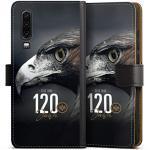 DeinDesign Klapphülle kompatibel mit Huawei P30 Handyhülle aus Leder schwarz Flip Case Eintracht Frankfurt Offizielles Lizenzprodukt 120 Jahre