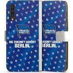 DeinDesign Klapphülle kompatibel mit Samsung Galaxy A50 Handyhülle aus Leder weiß Flip Case Hertha BSC Flagge Offizielles Lizenzprodukt
