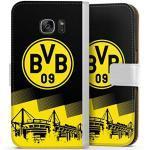 DeinDesign Klapphülle kompatibel mit Samsung Galaxy S7 Handyhülle aus Leder weiß Flip Case BVB Borussia Dortmund Stadion
