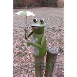 Deko-Impression Zaunfigur Zaunhocker Gartendeko witziger frecher Frosch m. Schirm 16cm
