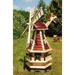 Deko-Shop-Hannusch Große Windmühle mit Beleuchtung Solar, Solarbeleuchtung Windmühlen kugelgelagert 1,0 m