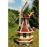Deko-Windmühle mit Solar Beleuchtung – Höhe 1,3 Meter Farbe: Braun