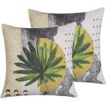 Dekokissen 2er Set Gelb Stoffbezug 45 x 45 cm mit Blättermuster Jamaika-Flair Wohnzimmer Schlafzimmer Flur Diele Accessories Dekoration