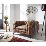DELIFE Clubsessel Corleone 120x97 cm Braun Vintage Microvelours Loungesessel, Relaxsessel