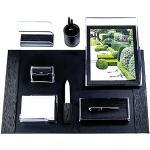 DELMON VARONE - Schreibtischset 8-teilig Manhattan aus Acryl/Leder - Premium Boxcalf Leder schwarz - Organizer Büroset mit Schreibunterlage - Büroartikel-Set für einen stilvollen Schreibtisch