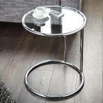 Design BEISTELLTISCH GALANO rund Ø 40 cm Glastisch Silber von Xtradefactory