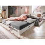 Design Bett in Weiß Kiefer Massivholz Paletten