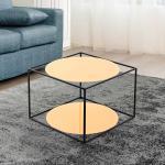 Design Sofatisch in Orange und Schwarz runden Glasplatten