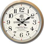 Design Wand Uhr Vintage Holz Optik beige Glas Batterie Zeit Anzeige Metall Dekoration BHP B991754