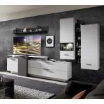 Design Wohnwand mit LED Beleuchtung Weiß und Dunkelgrau (7-teilig)