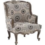 Designer Sessel in Weiß Grau gemustert Vintage Style
