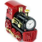 Designer Tischuhr Eisenbahn aus Metall