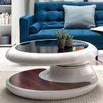 Designercouchtisch in Weiß Hochglanz und Nussbaum Optik schwenkbarer Tischplatte