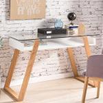Designschreibtisch in Weiß und Eiche Massivholz Glasplatte