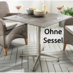 Destiny Tisch Loft Gartentisch ca. 80 x 80 cm Edelstahl HPL Platte Gastrotisch Esstisch - Ohne Sessel -