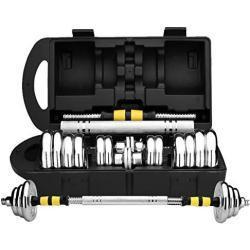 DHUA Innovatives 2in1 Kurzhantel-Set mit Silikonüberzug, Hanteln & Langhantel in einem, Plattierung-Box-Hantel in 15kg/20kg/30kg/50kg, Krafttraining Haushalt Hantelset (15kg)