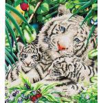 DIAMOND DOTZ® DD10.006 Original Diamond Painting White Tiger & Cubs 52 x 52 cm