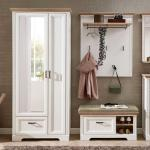 Dielenmöbel Set in Weiß und Eichefarben Landhausstil (3-teilig)