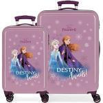 Disney Frozen Die Eiskönigin Destiny awaits Kofferset Violett 55/64 cms Hartschalen ABS Kombinationsschloss 93L 4 Doppelräder Handgepäck