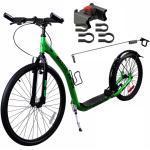 Dogscooter Master Sport XL 26/20 Zoll grün + Klickfix Adapter + Antenne für Leinenführung