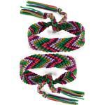 DonDon® 2 Unisex Freundschaftsbänder - Partnerbänder geflochten lila-grün