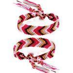 DonDon® 2 Unisex Freundschaftsbänder - Partnerbänder geflochten rosa-pink