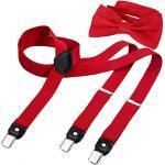 DonDon Herren Y-förmiger schmaler 2,5 cm Hosenträger elastisch und verstellbar im 2er Set mit farblich passender Fliege 12 x 6 cm - Rot