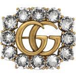 Doppel GBrosche aus Metall mit Kristallen