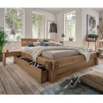 Doppelbett aus Wildeiche Massivholz Schublade (3-teilig)