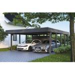 Doppelcarport SKAN HOLZ Friesland Set 4 inkl. Aluminium-Dachplatten, Geräteraum, H-Pfostenanker 557 x 708 cm grau