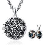 Drachen Medaillon Halskette 925 Sterling Silber Keltische Tierhalskette, die Bild halten Drachengeschenke Keltischer Schmuck Damen Herren