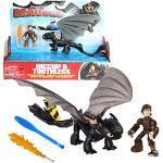 Dragons Ohnezahn gelbe Schwanzflosse & Hicks   DreamWorks Action Spiel Set