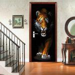 DRBTMT Türtapete Selbstklebend TürPoster - 3D Tier Tiger 77x200cm - Fototapete Türfolie Poster Tapete Abnehmbar PE Schälen und Stock Wandtapete zum Wohnzimmer Küche Schlafzimmer Wandaufkleber