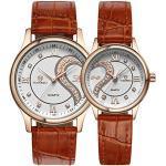 DREAMING Q&P Unisex Analog Quarz Paar Uhr mit Leder Armband Braun MW102J