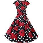 Rosa Rockabilly Dresstells V-Ausschnitt Rockabilly-Kleider & 50er Jahre Kleider für Partys für Damen